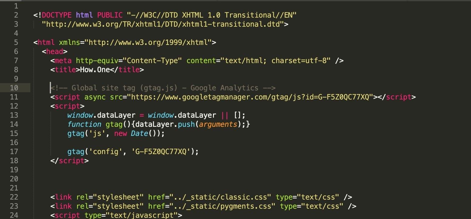 Add Google Analytics Code into HTML Website Page