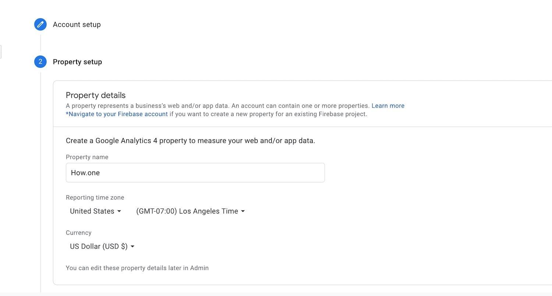 Setup Google Analytics Property